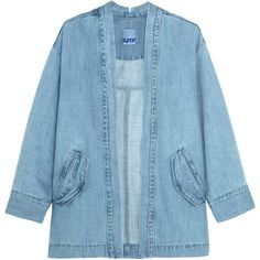 Steve J & Yoni P - Denim Jacket (350 BAM) ❤ liked on Polyvore featuring outerwear, jackets, light denim, pattern jacket, denim jacket, print jacket, light blue jacket and ruffled denim jacket