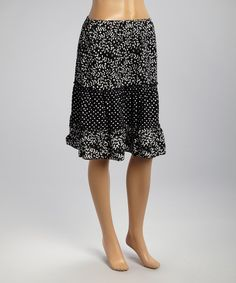 Black & White Willow Peasant Skirt by Nomadic Traders #zulily #zulilyfinds