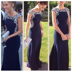 Elegant Navy Simple Cheap Evening Party Long Prom Dress, WG549 The long prom dress is fully lined, 4 bones in the bodice, chest pad in the bust, lace up back or zipper back are all available. This dre Modest Prom Dresses, Womens Formal Dresses, Long Blue Prom Dresses, Modest Dresses For Women, Senior Prom Dresses, Formal Dresses For Weddings, Party Dresses, Prom Dresses 2016, Mermaid Prom Dresses