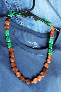 Malachite and Wood Bead Necklace by MakarBazar on Etsy, $32.00