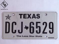 Placa - Matrícula metálica original de USA - Texas DCJ 6529