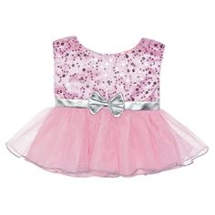 Dress your furry friend up in this fancy dress! This teddy bear size Pink Sequin & Tulle Dress has a silver band with a silver bow. It's perfect for dressing up your furry friend! Tulle Dress, Dress Up, Doll Clothes Barbie, Barbie Toys, Custom Teddy Bear, Build A Bear Outfits, Bear Shop, Crop Top Outfits, Pink Sequin