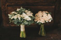 bride and bridesmaids bouquets of pink roses and white calla lilies, photo by This Modern Love