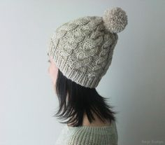 Hand Knitted Cable Chunky Beanie in Sand Beige - Beanie with Pom Pom - Seamless - Wool Blend - Winter Fall on Wanelo