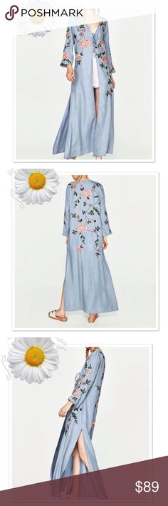 New Item-Blue Long Kimono V-neck Embroidered New Blue Long Kimono V-neck With Flowers Embroidered Sequined.  Front belt tie, long sleeve, slit sides, empire waist, poly cotton mix.   Beautiful!!!!  Size: S Dresses