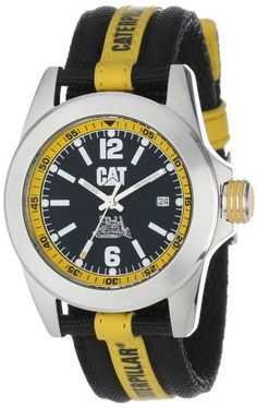 CAT Men's YA14163134 Big Twist Black Analog Dial with a Black and Yellow Nylon Strap Watch: Watches: #caterpillar #heavyequipment