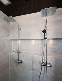Kalajoen asuntomessut Smart Oras Optima rain shower faucets at Kalajoki Fair. Left: Model Oras right: Oras 7192 Rustic Master Bathroom, Rain Shower, Washroom, Oras, Beautiful Bathrooms, Bathroom Furniture, Track Lighting, Faucet, Toilet