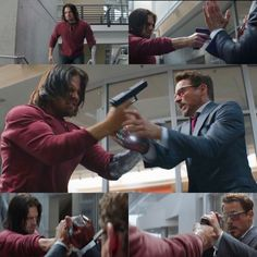 James Barnes and Tony Stark ( Sebastian Stan and Robert Downey Jr.) Captain America Civil War