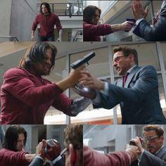 James Barnes and Tony Stark ( Sebastian Stan and Robert Downey Jr.) Captain America Civil War