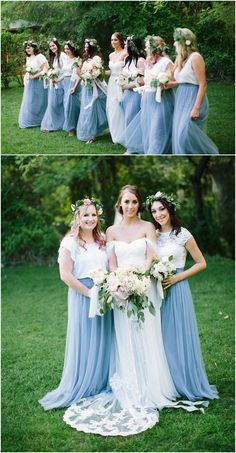 dusty blue tulle bridesmaid dresses TBQP346