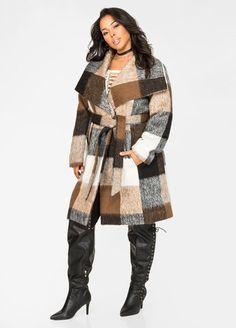 Curvy Girl Outerwear - 15 Head-Turning Coats Perfect For Curvy Girls Curvy Girl Fashion, Diva Fashion, Cute Fashion, Plus Fashion, Plus Size Dresses, Plus Size Outfits, Plus Size Fashionista, Wrap Coat, Plus Size Girls