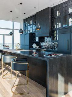 Kitchen with Black Iridescent Tile Backsplash, Contemporary, Kitchen custom panel integrated refrigerator cerused oak island