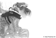 This cute boy is a keen sailor, hence the life jacket and boat scene. Pencil drawing.