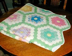 Grandmother's flower garden quilt  - I want to make one of these for my guest room.