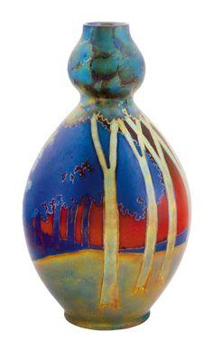 Zsolnay - Kobaktök-váza, erdős táj panorámaképével, Zsolnay, 1900 körül
