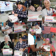 "Care packages = SMILES for our Veterans, too! Here are a bunch of smiles from a recent Inland Empire #HonorFlight! (Photos by Bernard ""Camera Guy"" Falkin.)"