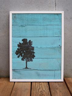 Reclaimed Wood Brown and Turquoise Tree Painting: