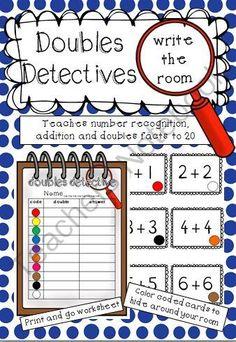 Doubles Detectives Write the room Math Writing, Kindergarten Writing, Teaching Math, Teaching Ideas, Math Doubles, Doubles Facts, Math Addition, Doubles Addition, 1st Grade Math