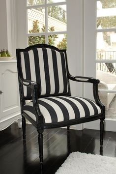 Black And White Stripe French Chair