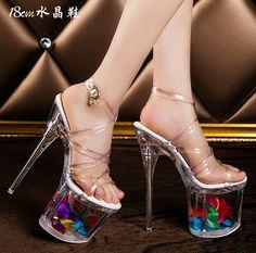 9bcdd494178 Womens Crystal Shoes High Heels Pole Dancing Stilettos Platform Pump Sandal  19CM. Clear High HeelsSuper ...