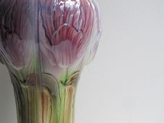 Art Nouveau Vase by St Clement, luxery French Belle Epoque Purple Iris design no 513, majolica, Faiencerie ca 1900-1920s by 1000Crows on Etsy https://www.etsy.com/listing/242965164/art-nouveau-vase-by-st-clement-luxery
