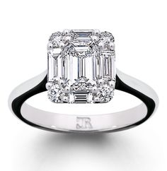 The Arum ring - a perfect emerald cut diamond is surrounded by baguettes and brilliants - fully handmade and exclusive to Charles Rose Emerald Cut Diamonds, White Gold Diamonds, Diamond Cuts, Unique Rings, Beautiful Rings, Diamond Cluster Ring, Diamond Rings, My Engagement Ring, Brilliant Diamond