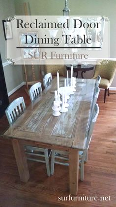 A Fun Way To Use Vintage Finds An Antique Door Repurposed Into Gorgeous Dining Room Table Piece Of Plate Glass Makes Easy Clean Surface That