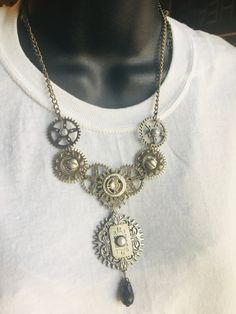 Steampunk Necklace Bib Gears, Screws, Swarovski and Black Crystal, Pearl, Watch Jewelry Black Crystals, Swarovski Crystals, Jewelry Shop, Handmade Jewelry, Unique Valentines Day Gifts, Bee Necklace, Steampunk Necklace, Photo Jewelry, Jewelries