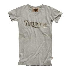 The Triumph Metallic Vintage Logo T-shirt for women is a 100% cotton jersey v-neck with a peached finish and metallic vintage Triumph logo for a retro feel. | Triumph Motorcycles