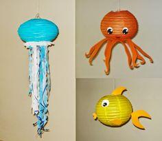 octopus Paper Lantern fish Paper Lantern Jellyfish Paper Lanterns. Mutant Ninja Turtles linterna... Under The Sea Theme, Under The Sea Party, Lanterns Decor, Paper Lanterns, Fish Lanterns, Baby 1st Birthday, Mermaid Birthday, Octonauts Party, Underwater Theme