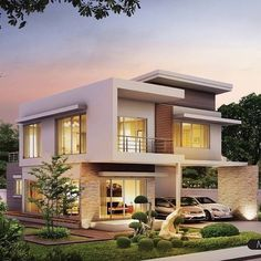 The front elevation of a home plan is a straight-on view of the house as if you were looking at. Modern Bungalow Exterior, Modern Exterior House Designs, Small Modern House Plans, Exterior Design, Exterior Colors, 2 Story House Design, Flat House Design, Modern House Design, Flat Roof House