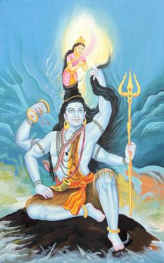 Lord Shiva holding the river goddess Ganga in his hair