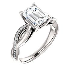 1.5 Ct Emerald Diamond Engagement Ring 14k White Gold