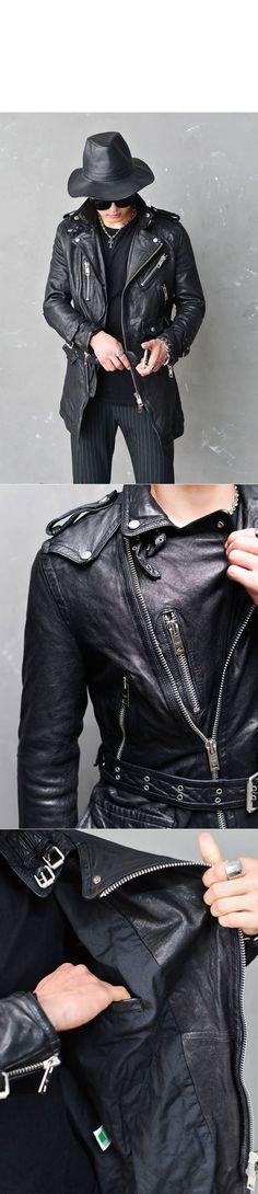 Belted Long Vegetable Tan Lambskin Biker-Leather 97 - GUYLOOK