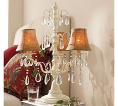Gorgeous chandelier lamp. #potterybarn