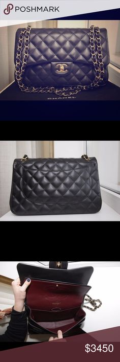 Authentic CHANEL 2.55 Jumbo GHW Double Flap Up for sale this Flawless CHANEL Classic 2.55 Double Flap Lambskin Black Leather, Gold Chain and Hardware Handbag. It's is very very good condition as you can notice in the HD pics above. Comes w/ Chanel Shopping bag, box, dust bag, authenticity card, receipt and booklet. I can provide as many photos as you'd like. Ask if still available before purchasing. Feel free to contact me for lower pricing. CHANEL Bags