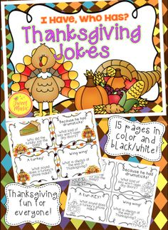 """If your students love to laugh and love to tell jokes, this is the perfect addition to your classroom. """"I Have, Who Has"""" Thanksgiving Jokes Edition will have your students laughing while practicing their reading and presentation skills.   Included in this package is a color edition, as well as black and white, for your convenience. Also included is an answer key in case students get lost along the way!"""