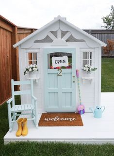 These playhouse ideas for kids are the best way to jazz up your backyard! We found tons of plans that you can DIY yourself, as well as ones you can buy from a store. Painted Playhouse, Cedar Playhouse, Playhouse Decor, Plastic Playhouse, Playhouse Plans, Playhouse Outdoor, Cubby Houses, Play Houses, Rocking Chair Makeover