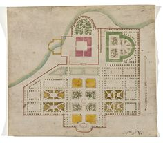 Byggnads- och parkritning i vattenfärg, 1600-talet. /Construction plan of building and park, 17th century.