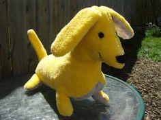 Handmade Plush Stuffed Animal Dog Baby Yellow by greenlioness