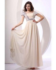 Chiffon Long Vintage Prom Dress with Sleeves | LynnBridal.com