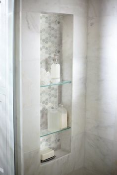 Arabescato Carrara 6 x 12 Marble Field Tile in White ideas small bathroom ideas bathroom ideas remodel bathrooms bathroom design Bad Inspiration, Bathroom Inspiration, Master Bathroom Shower, Bathroom Showers, Master Bathrooms, Bathroom Niche, Marble Showers, Small Bathrooms, Navy Bathroom