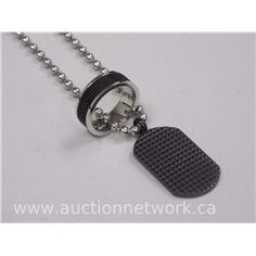 Gents Stainless Steel Necklace with Dog Tag and Stainless Steel Band Ring