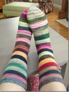 Surely a lot of people have had this idea. If you're a sock knitter, you have almost assuredly thought of doing this:      When the soc...