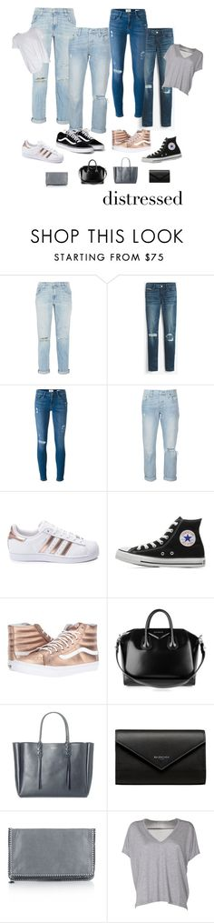 """""""dressed down distressed"""" by marlyf ❤ liked on Polyvore featuring Current/Elliott, White House Black Market, Frame, Levi's, adidas, Converse, Vans, Givenchy, Lanvin and Balenciaga"""
