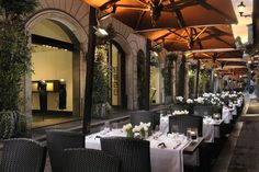 Cafe Romano, Outdoor eating area, Via Borgogna, Hotel d'Inghilterra, Royal Demeure, Rome, Italy.  Had one dinner and two breakfasts there.  The singer in the restaurant tried to sing in English for me - very nice, but funny!