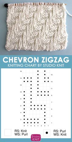 Knitting Chart of this Diagonal Chevron Zigzag Knit Stitch Pattern. Would be perfect for a scarf with some yummy yarn. Check out FREE Knitting Pattern, Chart, Photos, and Video Tutorial by Studio Knit. #StudioKnit #knittingpattern #knittingchart #knitstitchpattern #knitting #freepattern