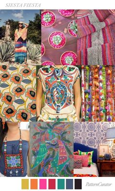 Spring Summer 2018 Style Inspiration | Colorful Bohemian Patterns | Boho Chic Fashion #moodboard #boho #pattern