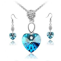 Set element full Diamond Heart Necklace - heart earring and necklace set jewelry