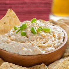 Beer Cheese Dip from Hidden Valley(R) - 1/2 C beer, 2 cups shredded cheddar, 2 bricks cream cheese, chopped green onions, 1 pack ranch dip. Maybe add some garlic also.